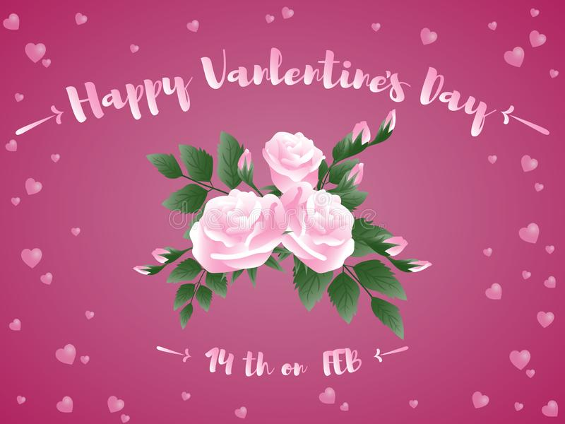 Valentine`s Day background of pink rose flowers and text Happy Valentine`s day 14th FEB with tint hearts. vector illustration