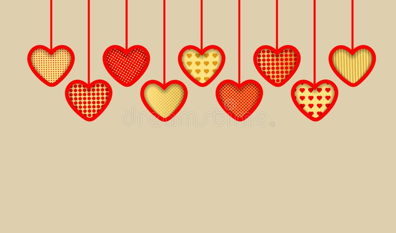 Valentine`s Day background. Red and gold paper hearts stock illustration