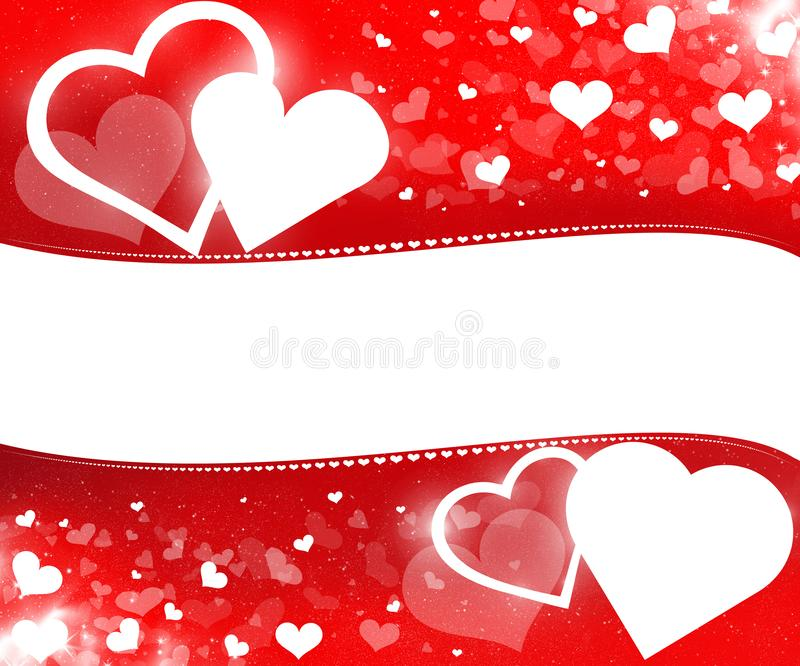 Valentine`s day background with red hearts. Happy Valentine`s day card with hearts and empty copy space for your text vector illustration