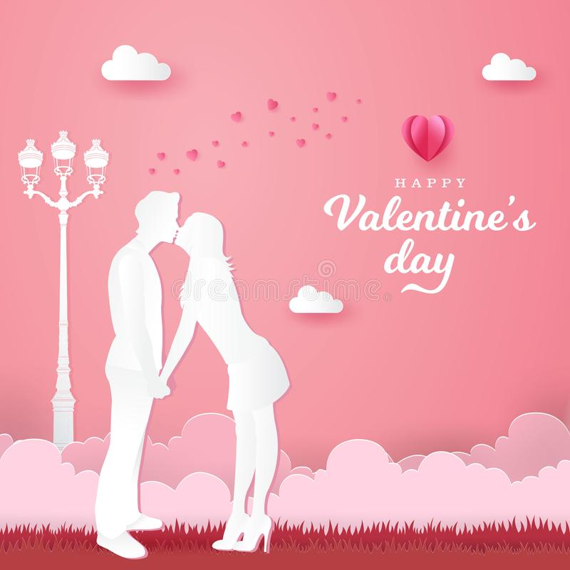 Valentine`s Day background. romantic couple kissing and holding hands on pink background. Paper cut style vector illustration stock illustration