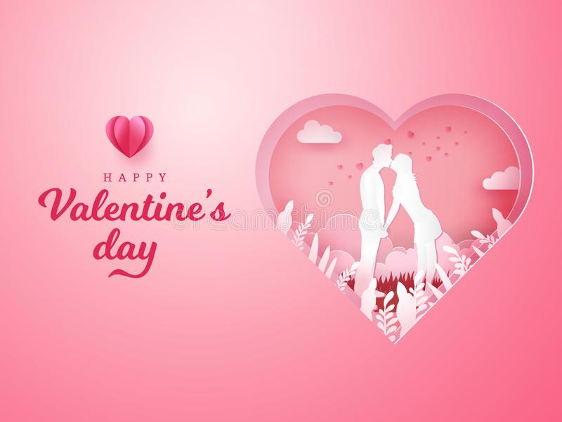 Valentine`s Day background. romantic couple kissing and holding hands. With carved heart background. paper cut style vector illustration vector illustration