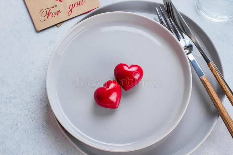 Valentine`s day background table setting stock photography