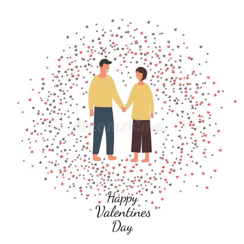 Valentine`s day background with young loving couple and many heart stock illustration