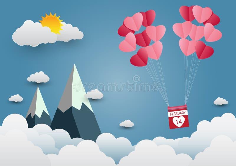 valentine 's Day-ballon, hartvormig zwevend in de lucht en prachtige bergachtige wolken papierkunst vectorillustratie stock illustratie