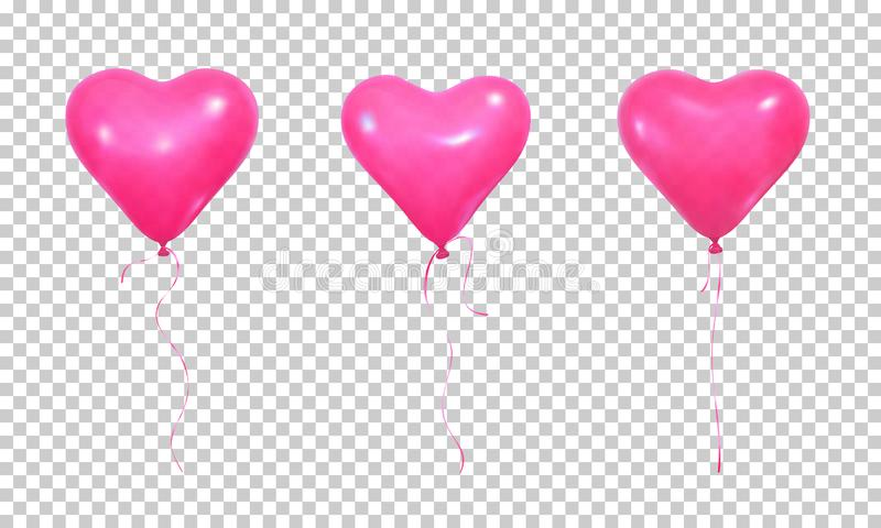 Valentine`s Day balloons. Set of realistic pink helium balloons of heart shape and ribbons vector illustration