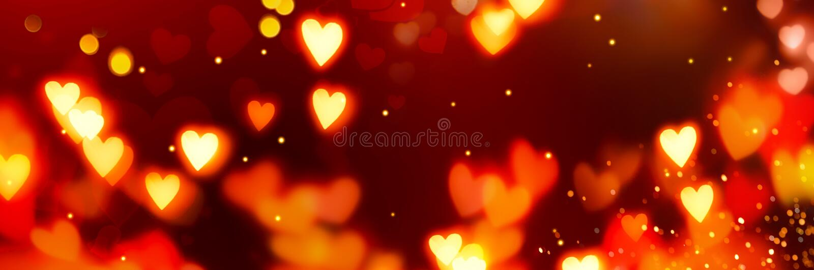 Valentine`s Day Banner Background. Holiday Blinking Abstract Background with Glowing Hearts. Love symbol, copy space stock photo