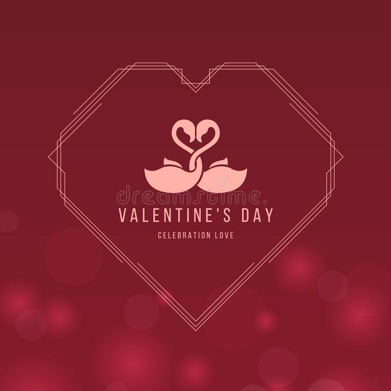 Valentine`s day banner card with Couple flamingo sign in line heart frame on red rose color light bokeh background vector design vector illustration