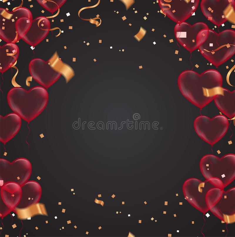 Valentine`s day, banner template. heart balloons with background. tags poster design Vector brochure, Celebration, i love you stock illustration