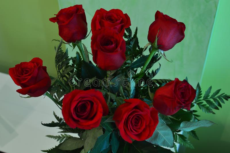 Valentine`s Day Beautiful Bouquet Of Red Roses Botany February 14th royalty free stock images