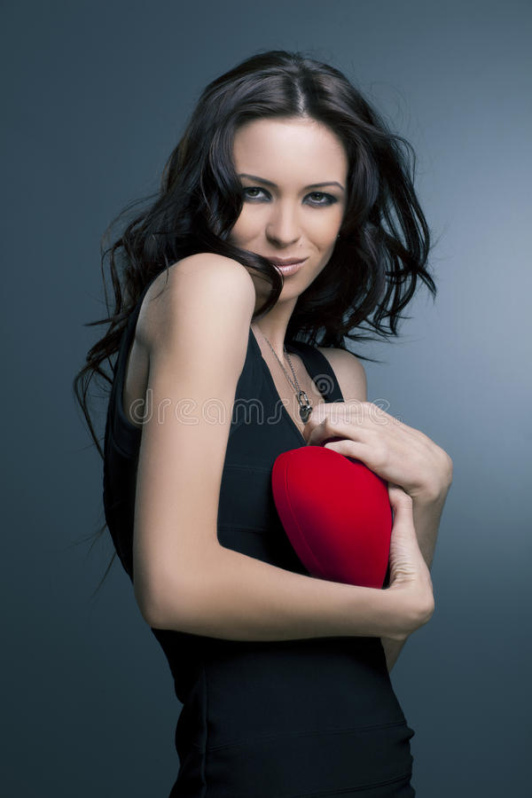 Valentine's Day. Beautiful smiling woman royalty free stock photo