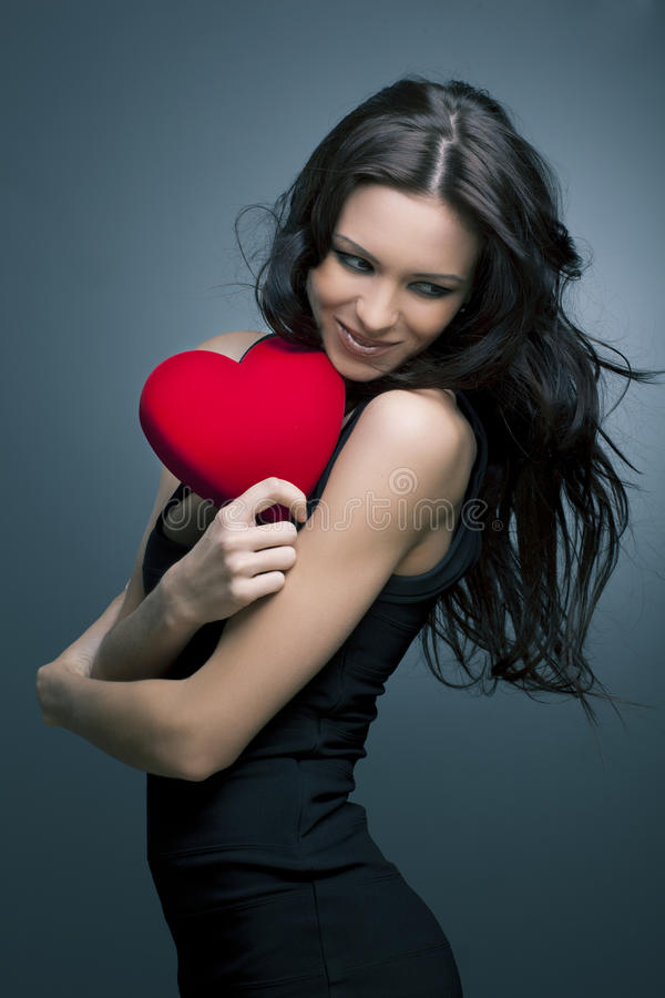 Valentine's Day. Beautiful smiling woman stock photo