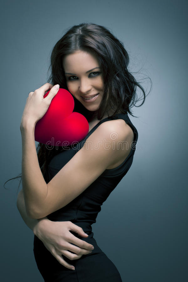 Valentine's Day. Beautiful smiling woman stock photography
