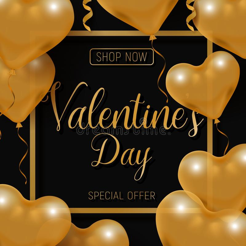 Valentine s day big sale offer, modern fashion banner template. Gold 3d glossy heart balloon with text. royalty free illustration