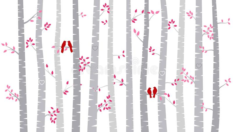 Valentine`s Day Birch Tree or Aspen Silhouettes with Lovebirds. Vector Format royalty free illustration