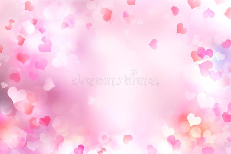 Valentine`s day blurred hearts background. vector illustration
