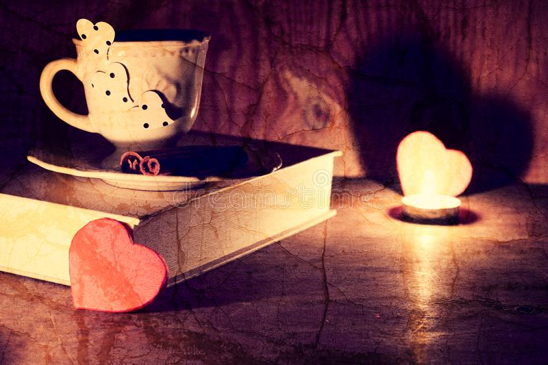 Valentine`s day book coffee royalty free stock image