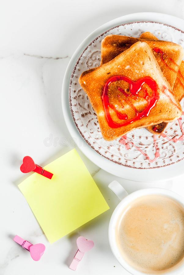 Valentine`s day breakfast idea royalty free stock photos