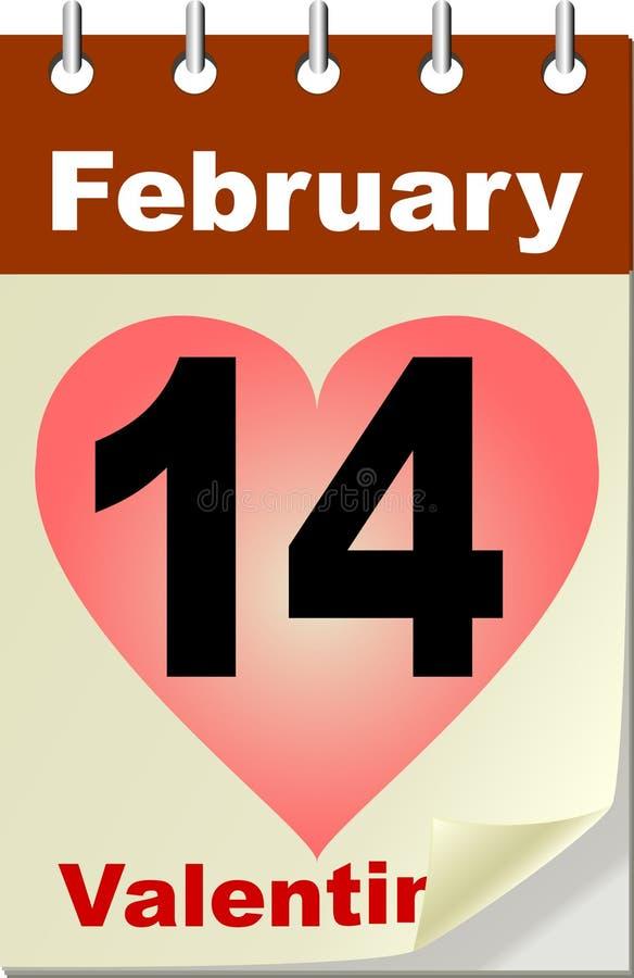 Valentine's Day in calendar royalty free illustration