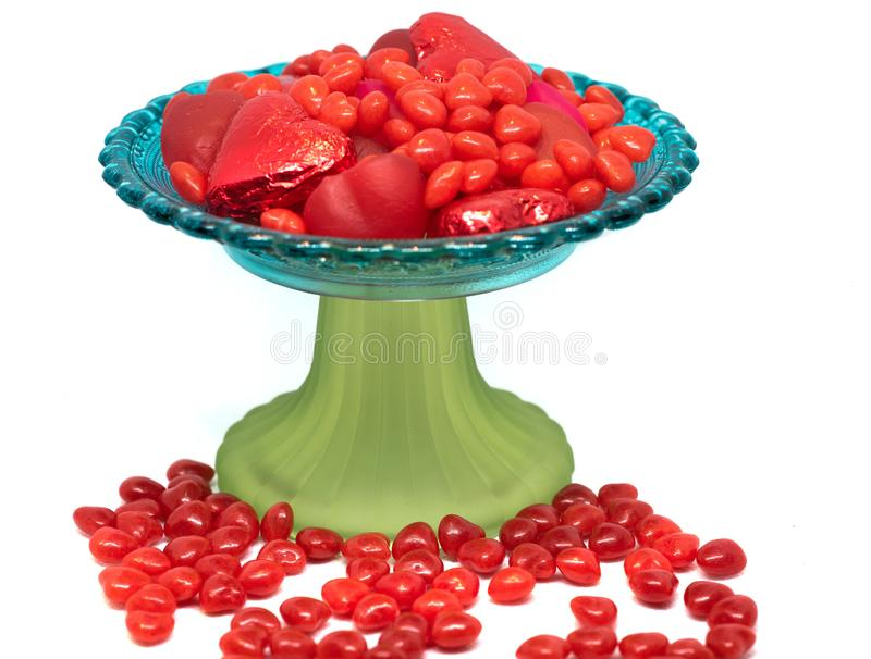 Valentine`s Day candy dish overflowing royalty free stock photo