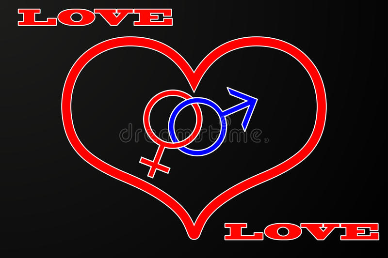 Valentine`s Day card background. Heart, man and woman symbols, Sex symbol royalty free illustration