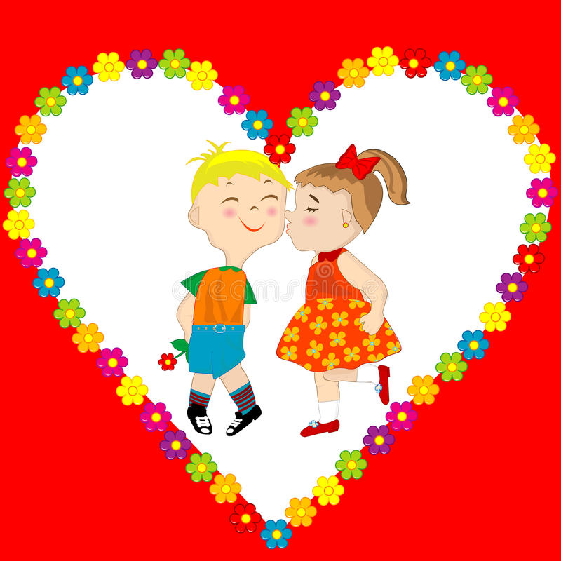 Valentine's Day card with boy and girl kissing. Valentine's Day greeting card with boy and girl kissing royalty free illustration