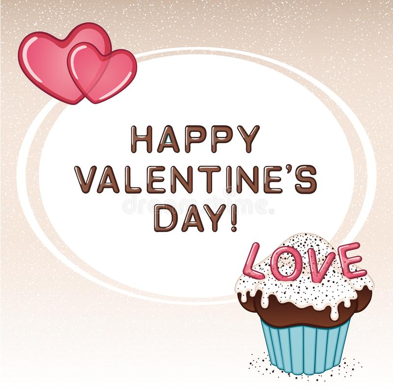 Valentine`s day card with chocolate cupcake, vanilla cream, sprinkles and two pink hearts stock photos