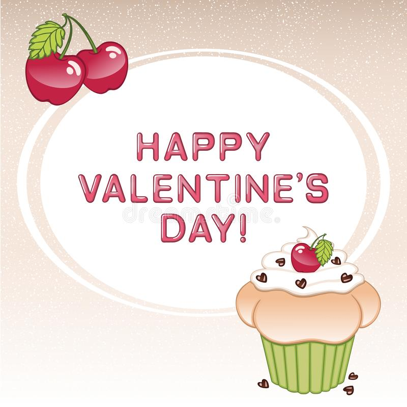 Valentine`s day card with cupcake, cherries, heart shaped candies and vanilla cream royalty free stock photos