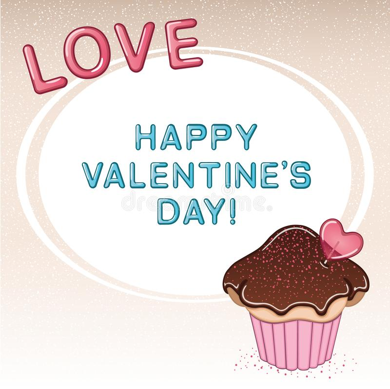 Valentine`s day card with cupcake, heart shaped lollipop, chocolate cream and sprinkles royalty free stock image