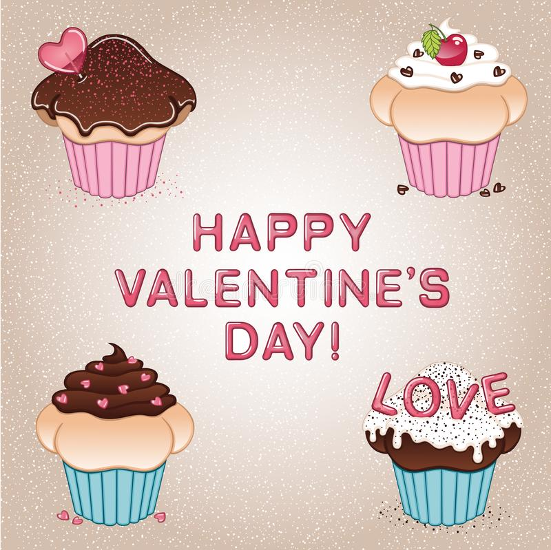 Valentine`s day card with four cupcakes, heart shaped lollipop and candies, cherry, sprinkles, chocolate and vanilla cream royalty free stock images