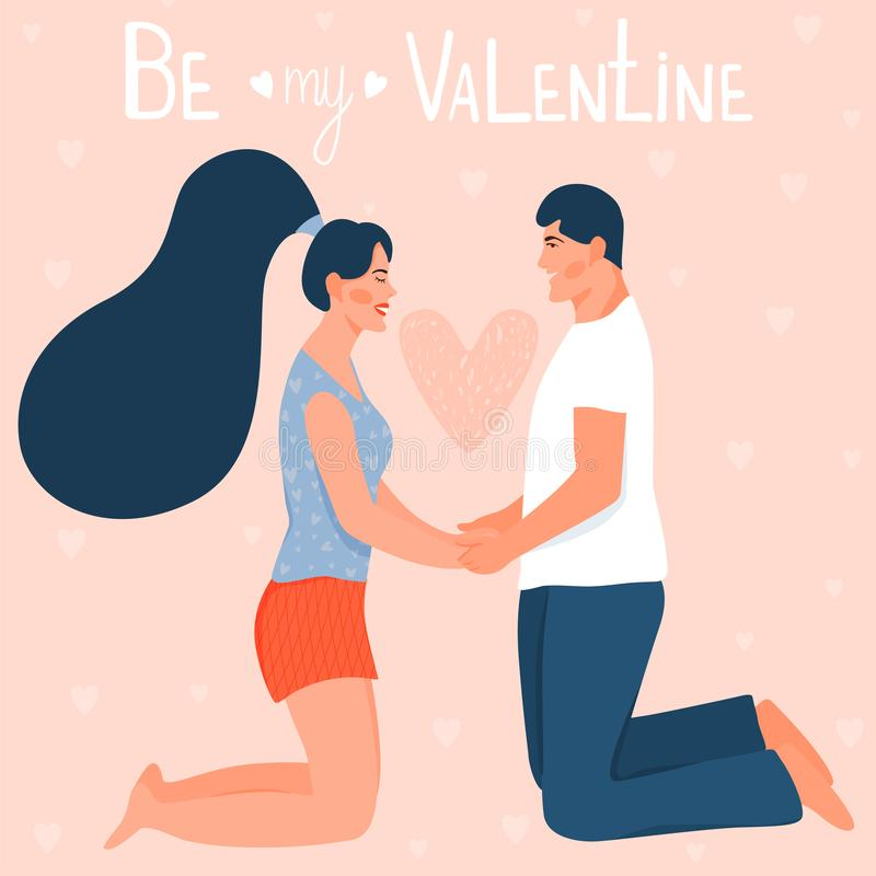 "Valentine`s day card with happy couple. Couple holding hands and kneeling. Text ""Be my Valentine"". Vector illustration vector illustration"