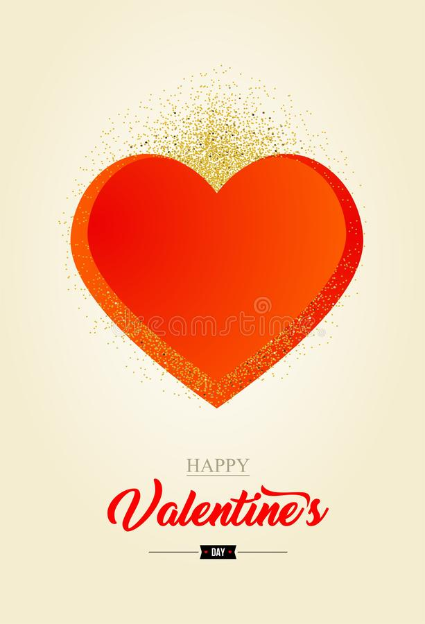 Valentine`s Day Card with hart - vector. stock illustration