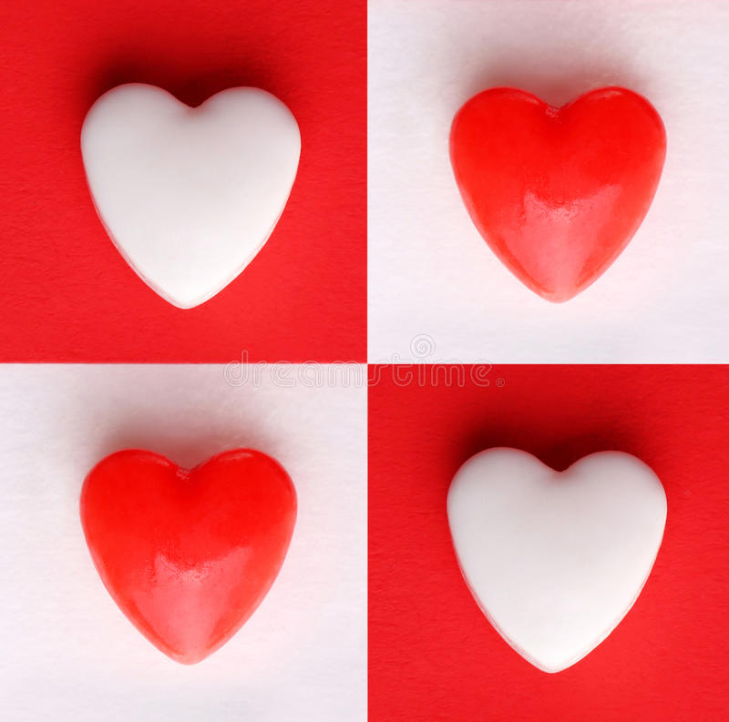 Valentine's Day Card. Hearts over White and Red backgrounds royalty free stock photos