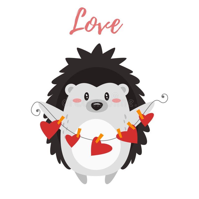 Valentine`s day card with hedgehog vector illustration