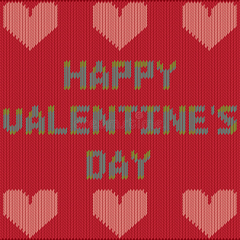 Valentine`s Day card with knitted text stock photo