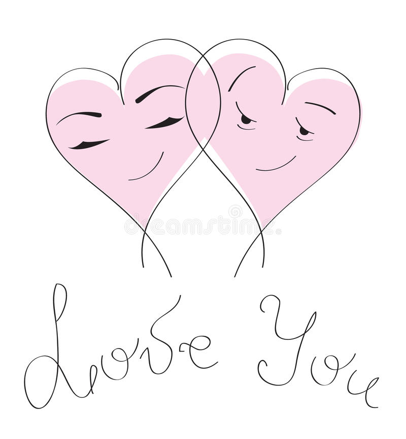 Valentine`s day card & love. Cartoon hearts couple vector illustration