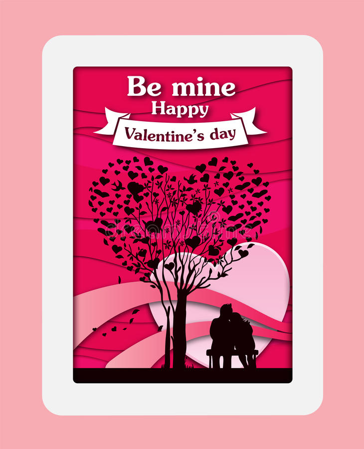 Valentine`s day card paper cut background with pink heart and red rose. Vector illustration vector illustration