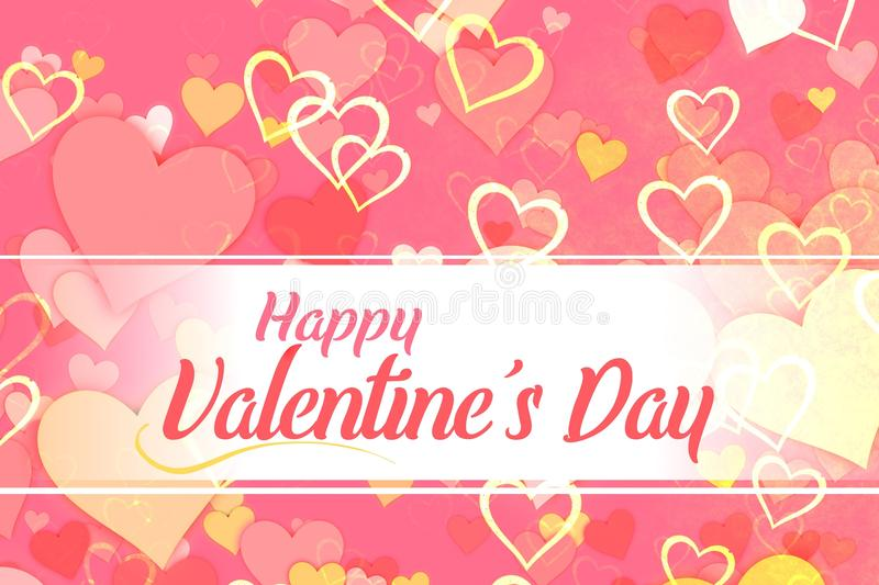 Valentine`s Day. Card or Sign with a soft pink and white hearts background stock illustration