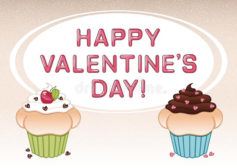Valentine`s day card with two cupcakes, cherry, heart shaped candies, vanilla and chocolate cream royalty free stock photo