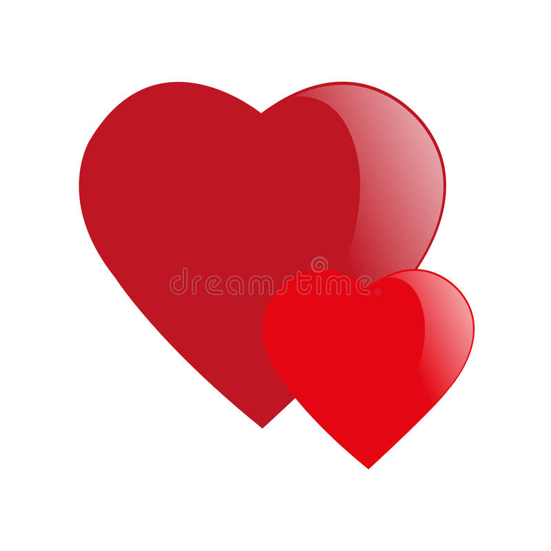 Valentine's day card with two empty heard vector illustration