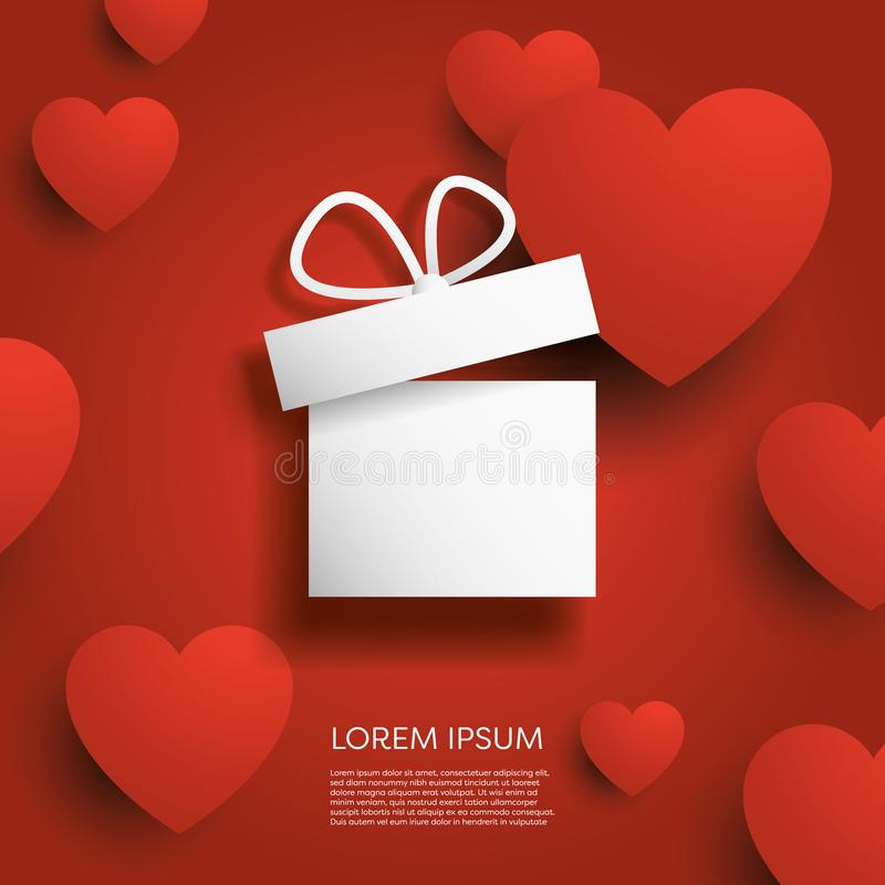 Free Valentine`s Day Card Vector Template With Gift Or Present And 3d Hearts In Background. Shopping And Sale Promotion And Stock Photos - 135984353