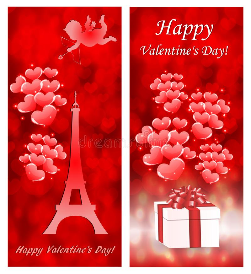 Valentine`s day cards with Eiffel Tower. Valentine`s day cards with red hearts, gift and Eiffel Tower royalty free illustration