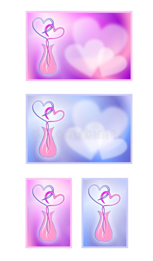 Valentine's Day cards with hearts. Cartoon images of love. A collection of images. Valentine's Day cards with hearts. Cartoon images of love. A gift for a loved royalty free illustration