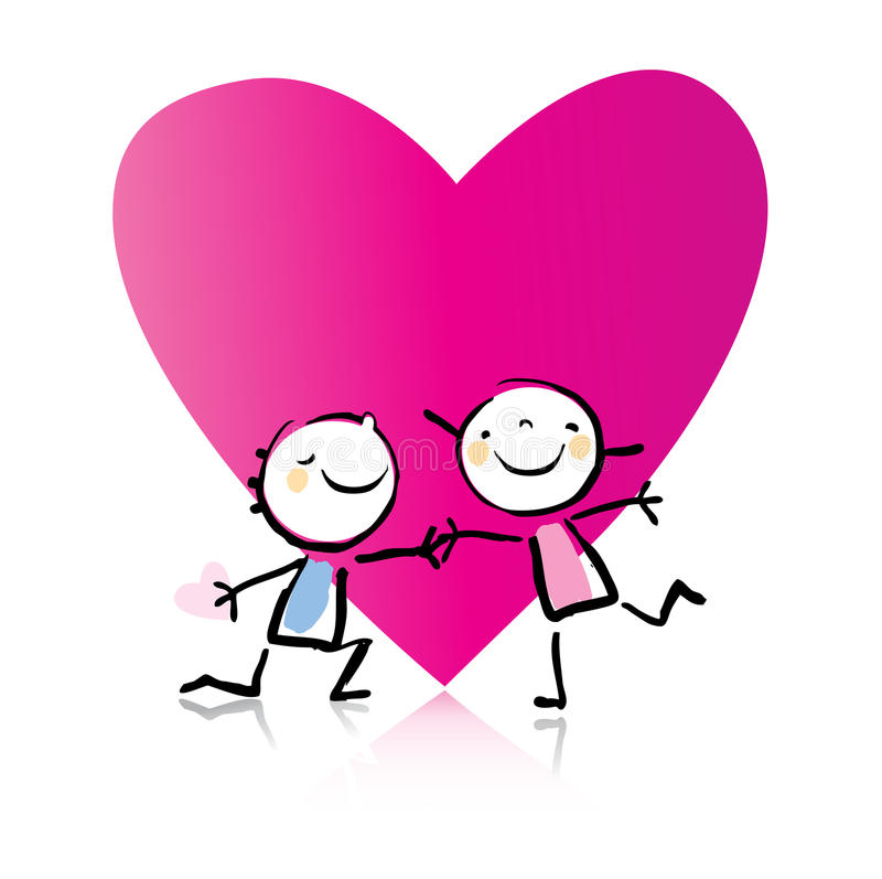Valentine's Day cartoon. Romantic couple in love and big heart, see more images related royalty free illustration