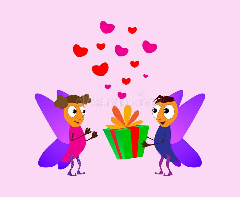 Valentine`s Day. Cartoon elf boy giving girl a gift box. Love cards. Red and pink fhearts. Romance concept Vector illustration ba. Ckground royalty free illustration
