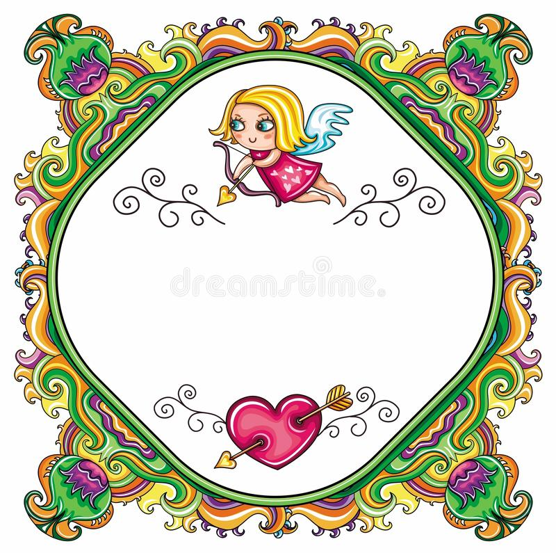 Valentine's Day cartoon floral farme royalty free illustration
