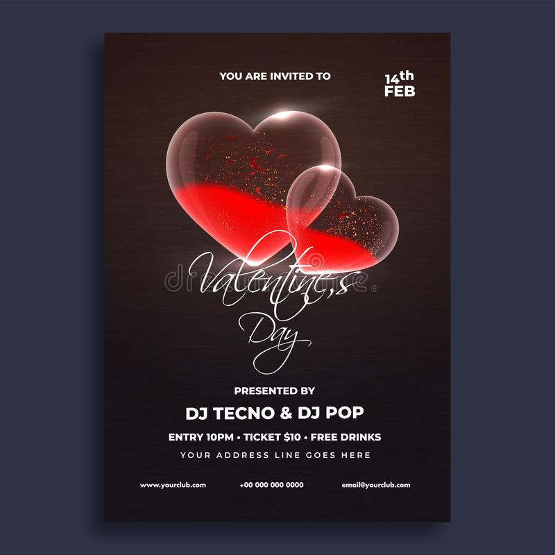 Valentine`s Day celebrations flyer design. Love concept stock illustration
