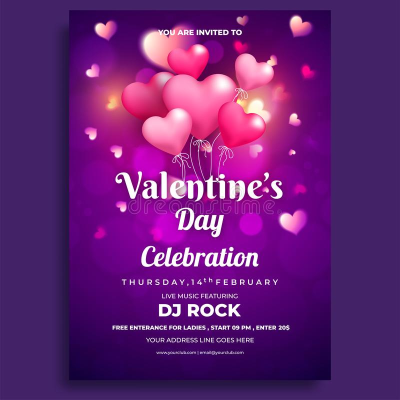 Valentine`s Day celebrations flyer design. Love concept vector illustration