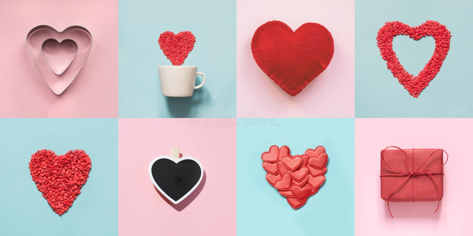 Valentine`s day collage for card with heart shape and gift boxes on blue and pink royalty free stock image