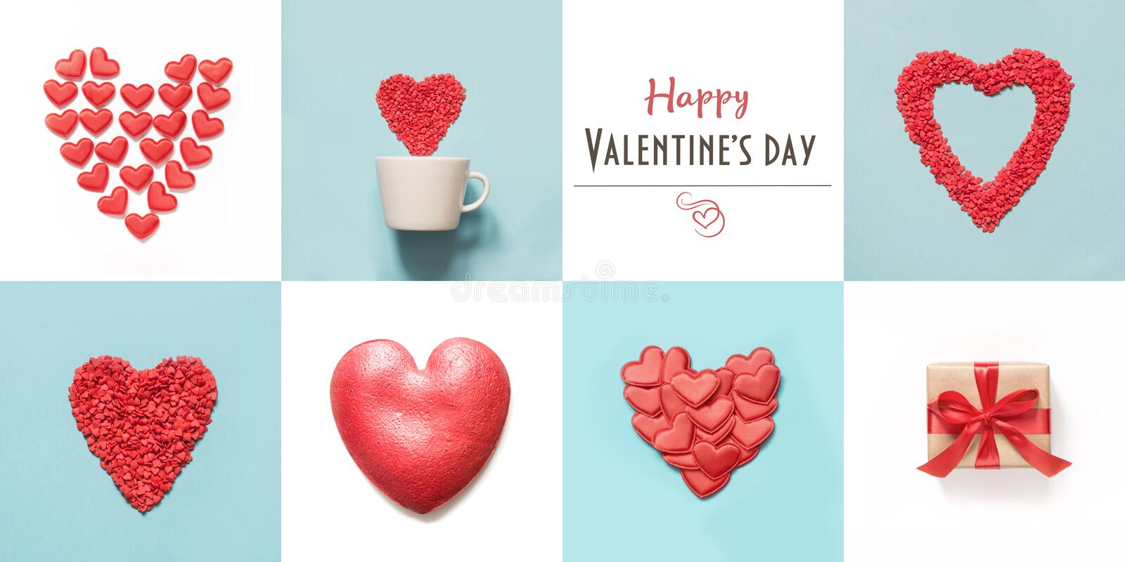 Valentine`s day collage for card with heart shape and gift boxes on blue and white royalty free stock photo