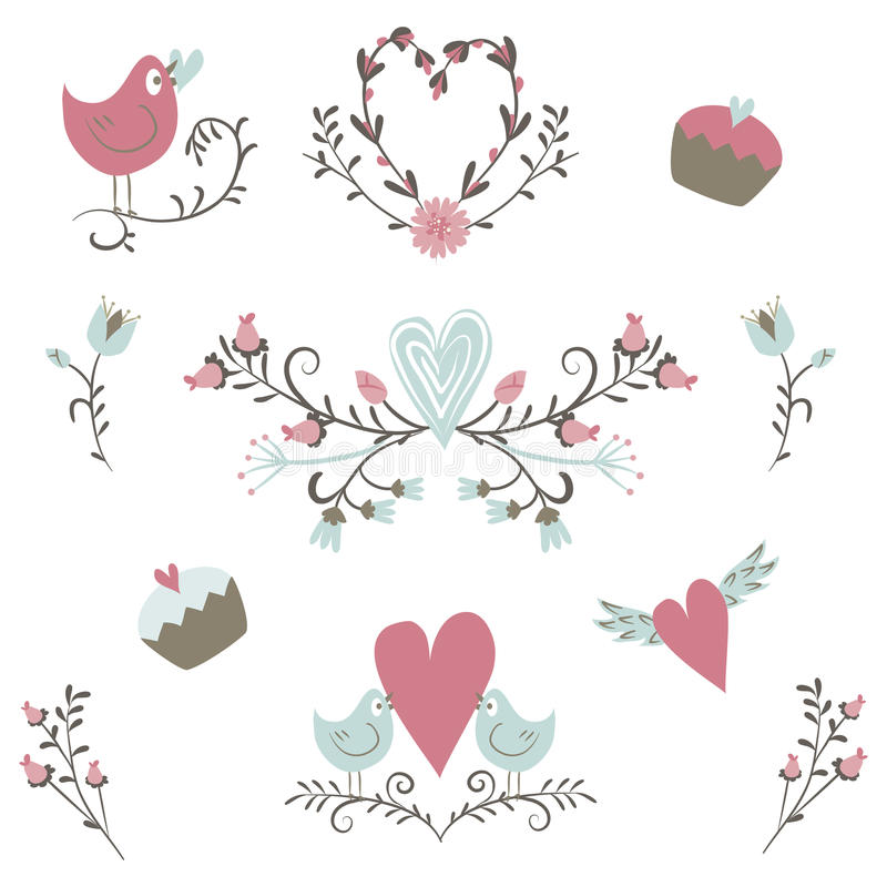 Valentine`s Day collection. Vector birds, hearts,flowers and other elements. Hand drawn. Simple and cute vector illustration